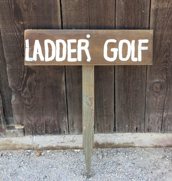 Wood Ladder Golf Stake Sign