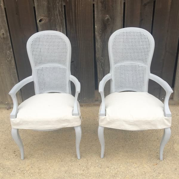 SLOANE GRAY CANED BACK CHAIR