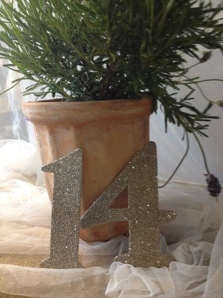 Glitter Table Numbers (1-20)