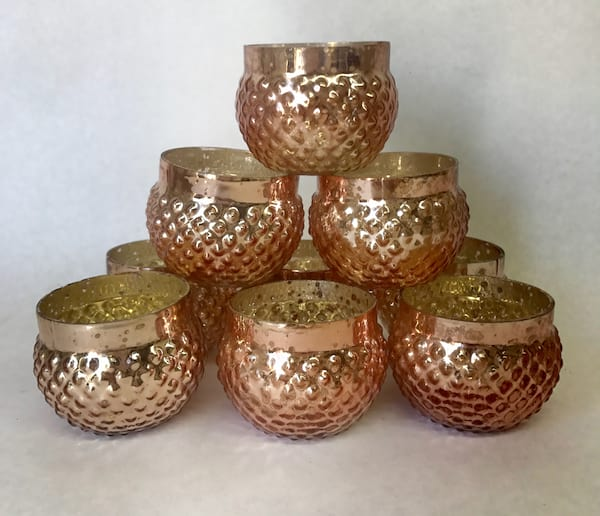 Rose gold/pink mercury glass votives