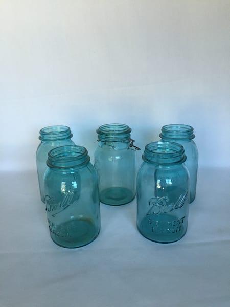 Aqua Mason Jars quart size