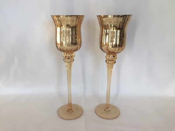 Tall Gold Mercury Glass Pedestal Votives