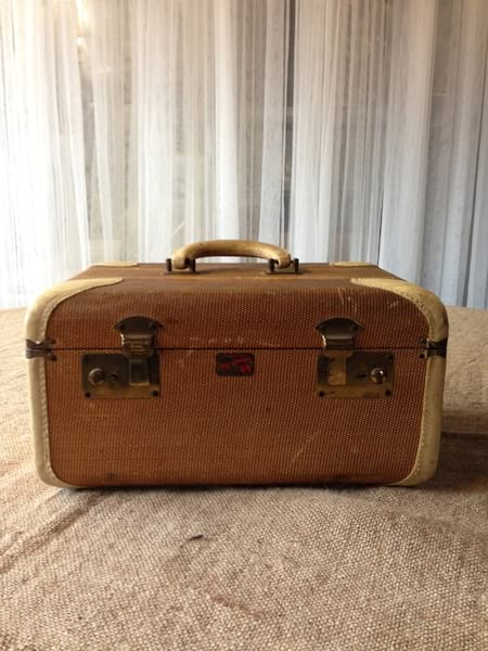 Brown Train Case with white leather