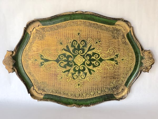 Dark green and gold florentine tray