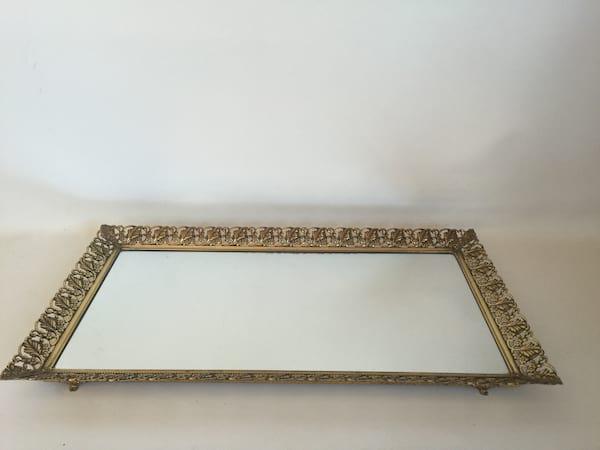 "large gold filagree mirror tray 20 """