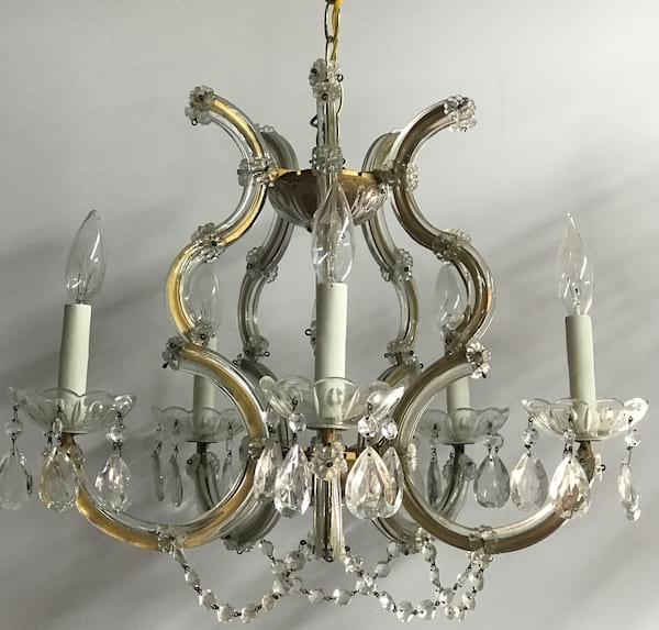 CHARLENE glass and brass chandelier
