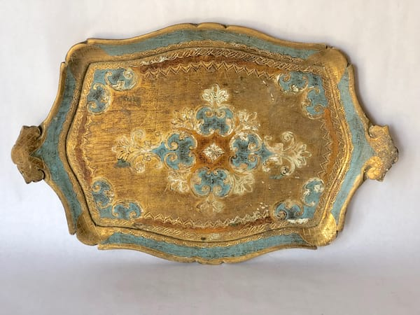Aqua and gold tray