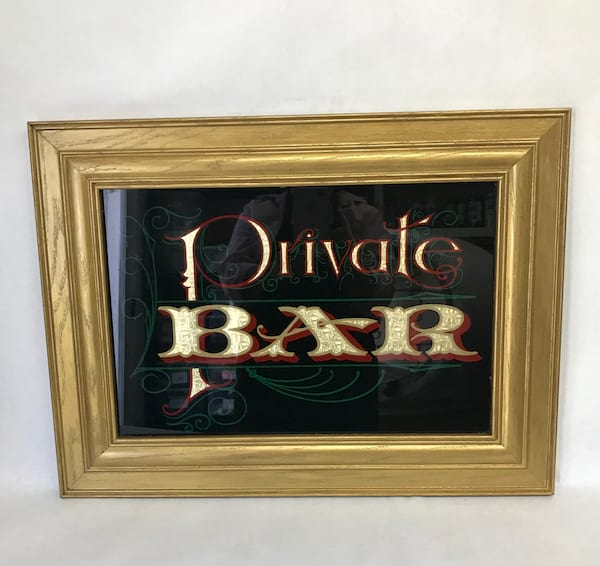 """""""PRIVATE BAR"""" GLASS SIGN"""