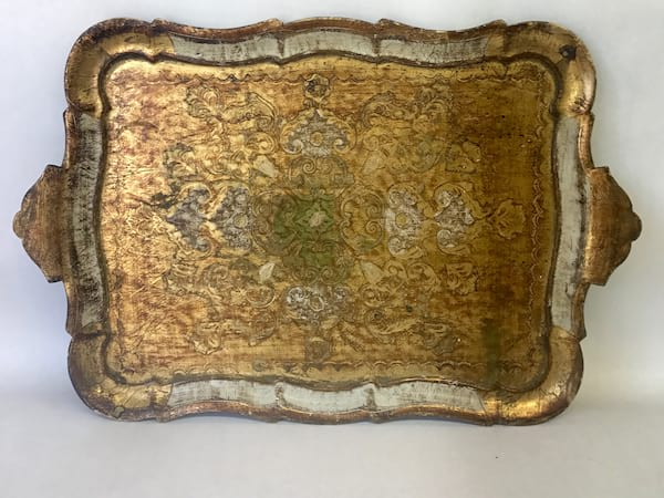 Gold and White florentine tray