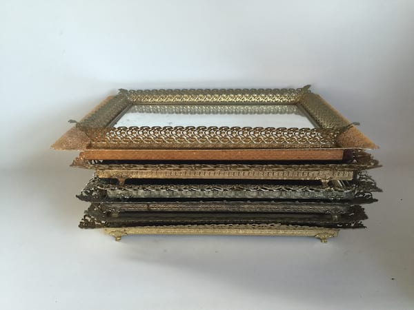 filagree gold mirrored tray 15""
