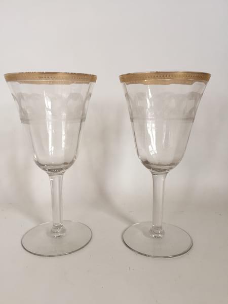 Gold rimmed  toasting glasses