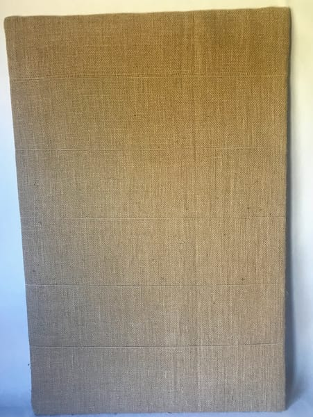 burlap covered pin board with strings