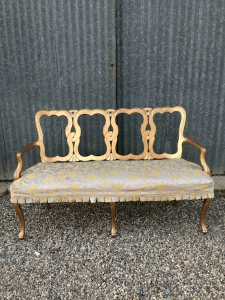 GARRISON GRAY AND GOLD SETTEE