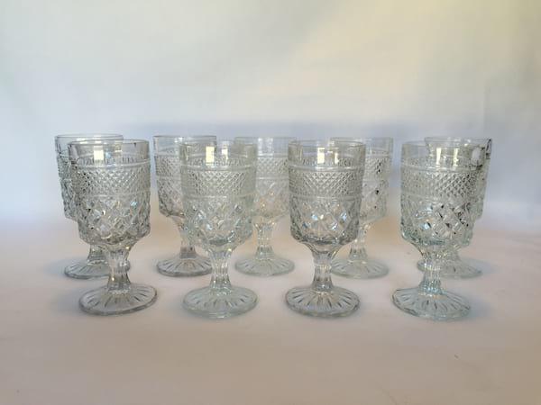 large diamond  glass goblets