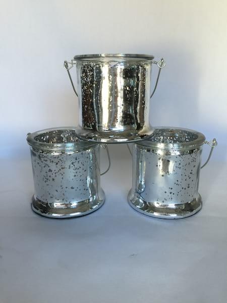 Silver Hanging Mercury Glass Vases