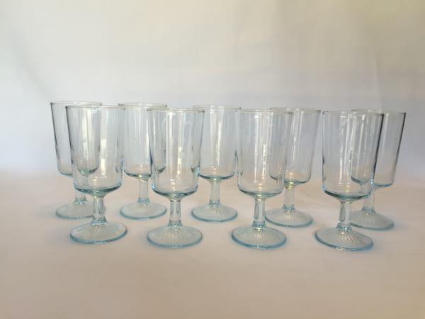 pale blue glassware/goblets