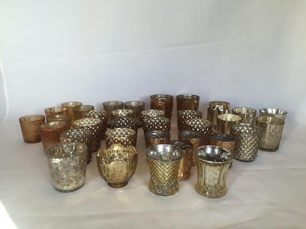 Fancy Gold Mercury Glass Votive