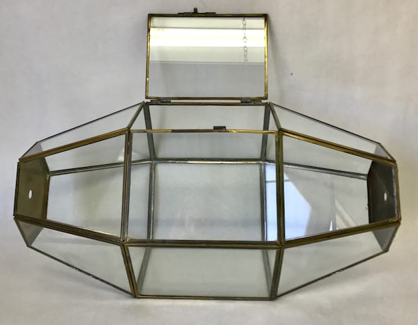 GLASS AND BRASS CARD HOLDER