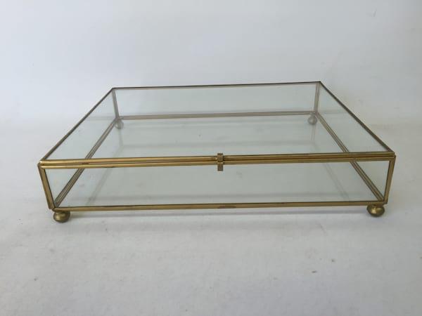 Glass and brass flat box