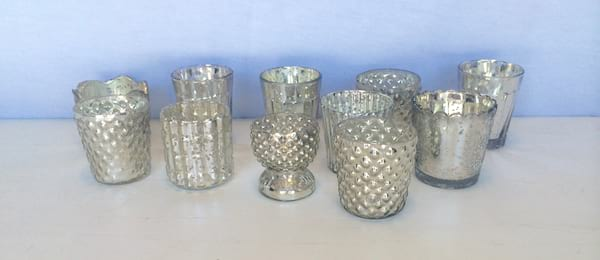 Fancy Silver Mercury Glass Votive