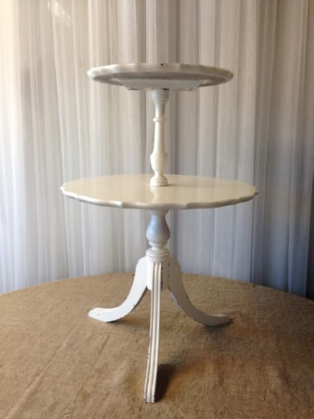 TIMOTHY 2-TIER WHITE SIDE TABLE