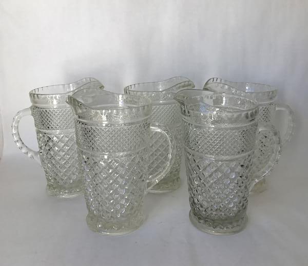 DIAMOND PATTERN GLASS WATER PITCHER