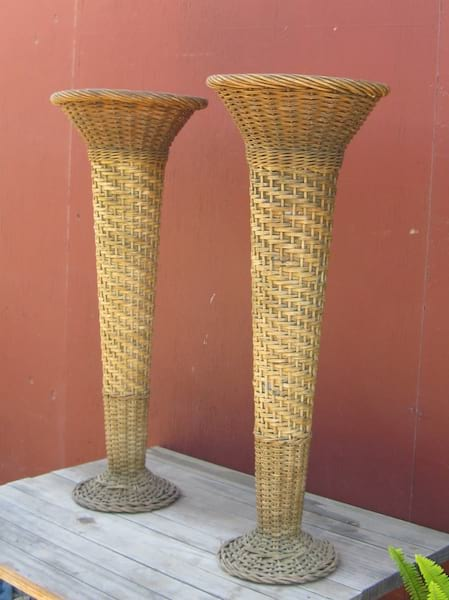 Tall Wicker Flower Stands