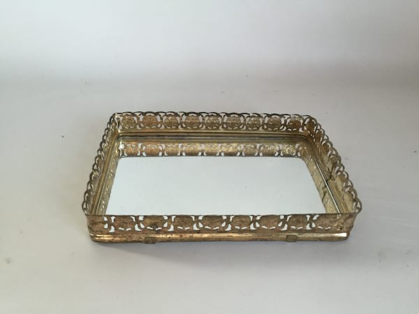 """Small gold mirrored tray 7.5"""""""
