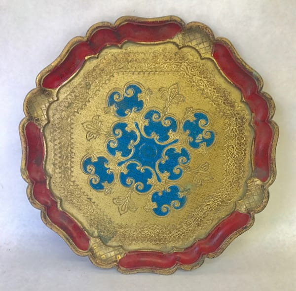 Gold red and blue florentine tray