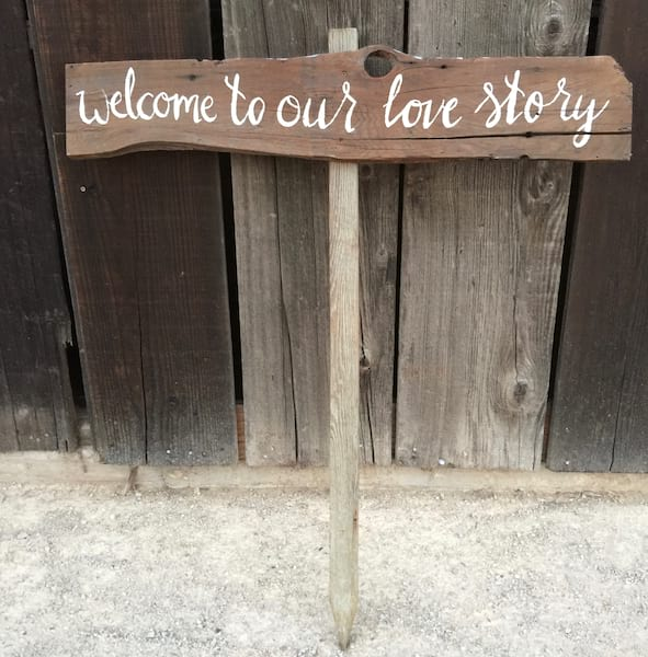 Welcome to our Love Story wood sign
