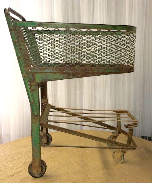 Vintage Green Shopping Cart