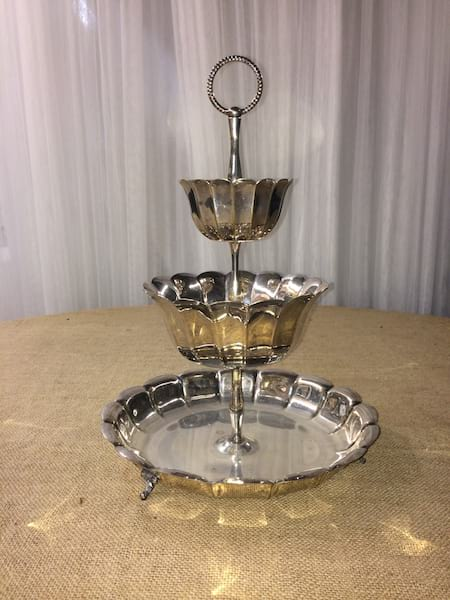 3-Tier Curved Silver Dessert Tray