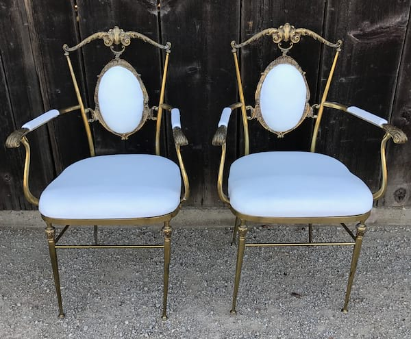 CAMILLA BRASS WITH WHITE VELVET CHAIR