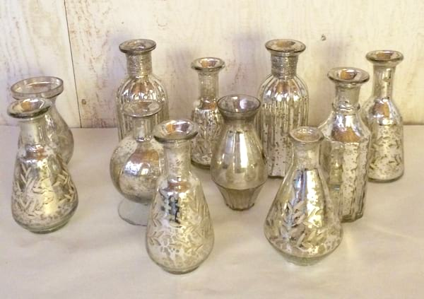 Mercury glass bud vases