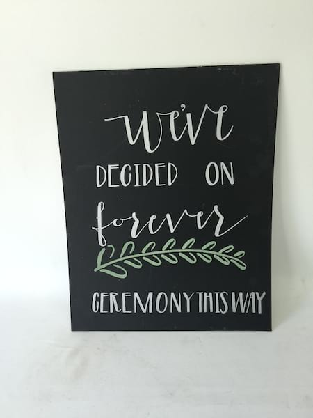 we'ved decided on forever chalkboard INSERT