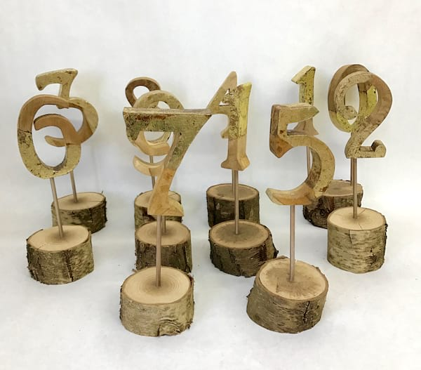 WOOD NUMBERS WITH GOLD LEAF