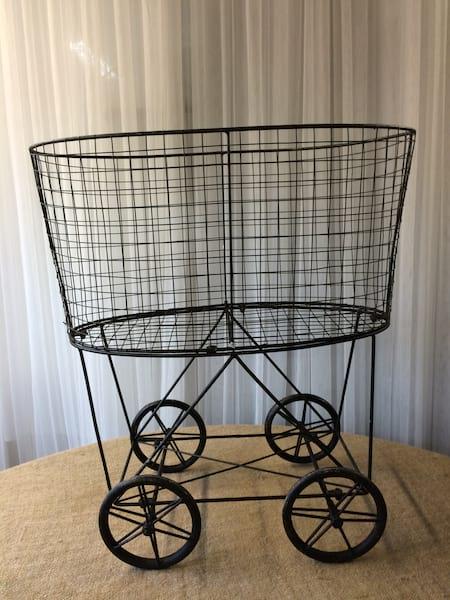 Vintage Black Basket on wheels