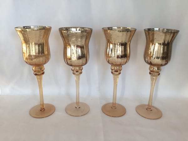 Medium Gold Mercury Glass Pedestal Votives
