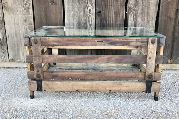 THOMAS GLASS TOPPED CRATE COFFEE TABLE
