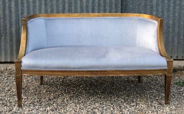 BIANCA BLUE VELVET SETTEE WITH GOLD TRIM