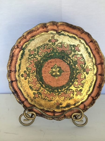 florentine Round Fancy Pink, Green and Gold Tray