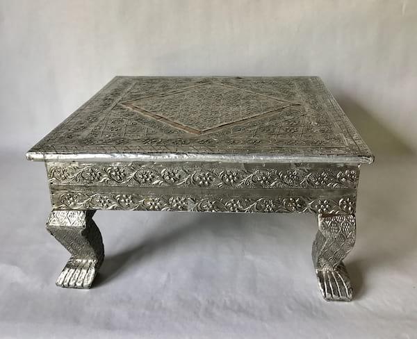 Silver metal stamped riser