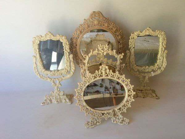 Ivory Framed Mirrors on stands
