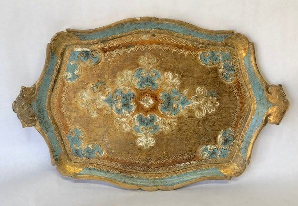Aqua and gold florentine tray