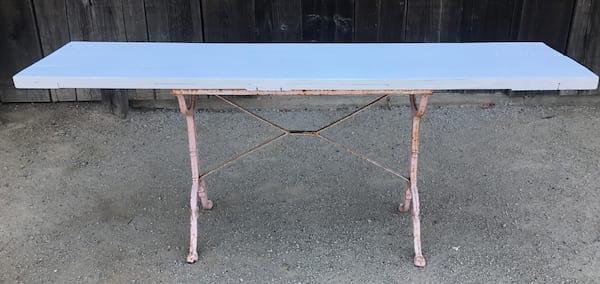 Pink base narrow table