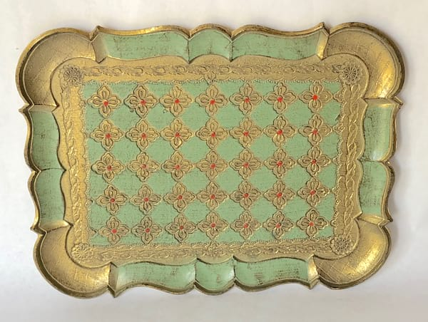 light green and gold tray