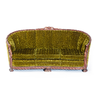 Green Hand Carved Crushed Velvet Couch