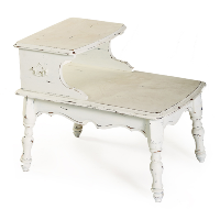 White Shabby 2-Tier Side Table