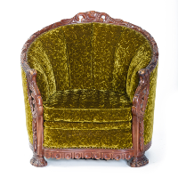 Green Velvet Hand Carved Chair