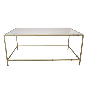 Bamboo brass and marble coffee table
